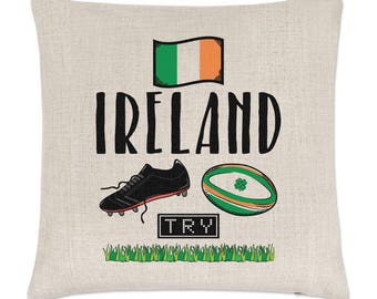 Rugby Ireland Linen Cushion Cover
