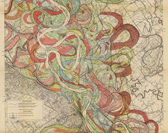 Ancient Courses of the Mississippi River Meander Belt Sheet 6 geological survey map vintage reproduction 1943