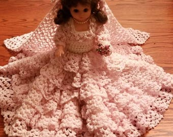"""Pink Bride to be, 13"""" doll and gown"""