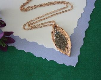 Double Rose Leaf Necklace, Rose Leaf Necklace, Double Leaves, Rose Gold Leaf, Platinum Leaf, Real Leaf, DLC116