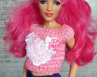 Doll clothing shirt Barbie pink heart knitted t-shirt wwe top made to move curvy tall DS superhero girl LIV Moxie Teenz 1/6 bjd top outfit