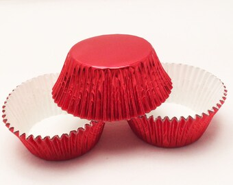 48 Red Foil Standard Size Cupcake Liners Baking Cups