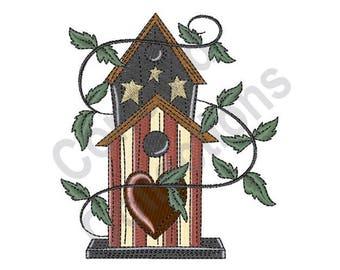 Patriotic Birdhouse - Machine Embroidery Design, Birdhouse - Machine Embroidery Design, Patriotic - Machine Embroidery Design
