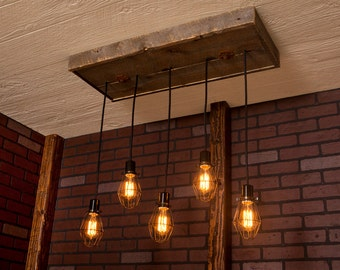 Industrial lighting, Industrial Chandelier, Antique Brass With Reclaimed Wood and 5 Pendants. R-1434-AC-5