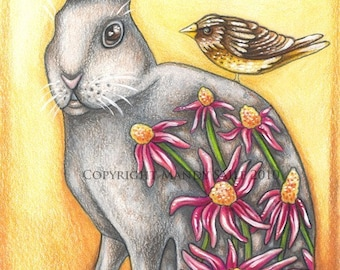 "Fauna and Flora 1 - an 8 x 10"" ART PRINT of a beautiful rabbit and sweet brown bird in celebration of life, spring and new beginnings"