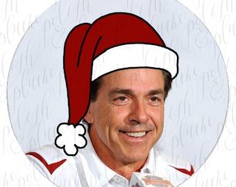 """Santa Nick Saban 3"""" Game Day Buttons Pins"""