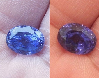 5.58 ct Oval Cut Blue to Purple Natural Untreated Color Change Sapphire