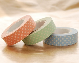 Classiky Japanese Washi Masking Tapes - Bright Polka Dots for baby announcement, shower, gift wrapping, scrapbooking
