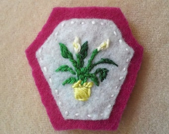 Swingin' Spathiphyllum - Peace Lily (Patch, Pin, Brooch, or Magnet)
