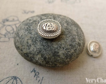 20 pcs of Antique Silver Oval Embossed Rondelle Flower Beads 10x12mm Double Sided A6211