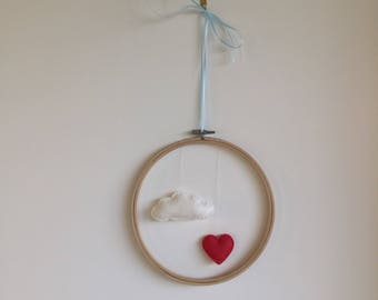 Decorative wall baby/toddler cloud and heart felt