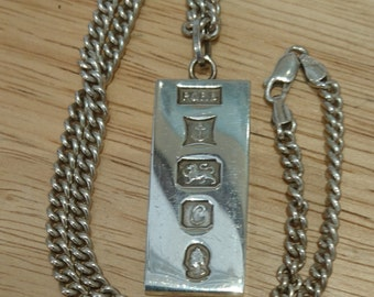Vintage sterling silver ingot and chain