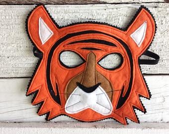 Bengal Tiger Costume - Felt Animal Mask, Tail, & Vest - Wool or Eco Felt