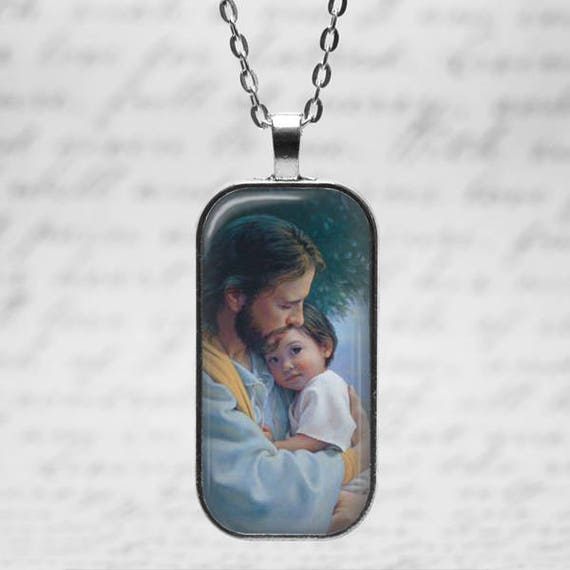 Jesus holding Boy in heaven Remembrance  Pendant, including silver  18 or 24 inch chain -Baby Memorial Pendant, child Loss Necklace