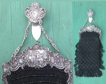 Antique Victorian Purse with German Silver Frame and Chatelaine - Black Beaded Macramé Bag EXCELLENT Condition c.1900