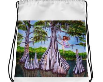 Cyprus Fairies Original Art Drawstring bag/ backpack