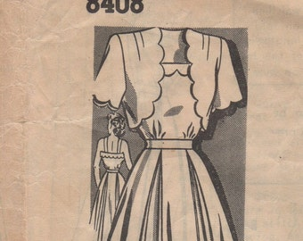 Bust 32-FACTORY FOLDED 1940's Misses' Dress and Bolero Mail Order 8408 Size 14 Waist 26 1/2 Hip 35