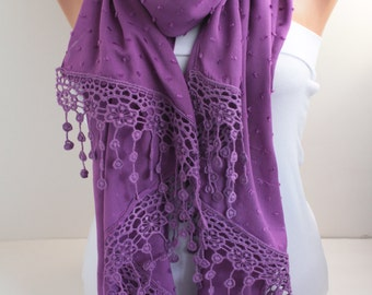 Women's Scarf  Long Purple Scarf Oversized Lace Scarf Purple Scarf Spring Summer Scarf  Shawl Wrap Fashion Women Accessories Christmas Gift