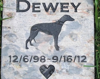 Memorials, Memorial Gifts, Dog Memorials, Personalized. Greyhound, Grave Marker, Pet Loss, Sympathy Gifts, Garden Stone 6 x6 Inch Slate