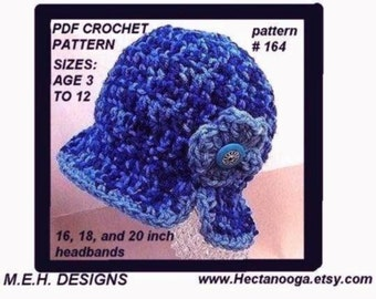 hat, CROCHET PATTERN, number 164, TODDLER sizes, split brim cloche hat .. sizes 3 to 5, and 5 to 12