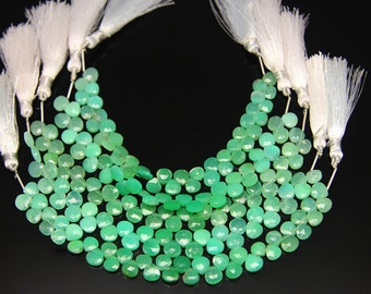 1strand(0001) - natural chrysoprase faceted heart sized 7 by 7mm