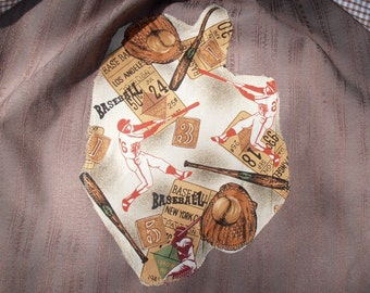 Back to school boys art smock, waterproof front, long sleeves, for child age 9 to 12. Craft apron. Baseball.