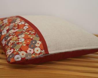 Housse de coussin, fleurs, couleurs de l'automne  / Pillow, cushion cover, flowers, autumn colors