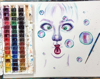 Watercolour Abstract Bubble Portrait on A3 300gsm Watercolour Paper