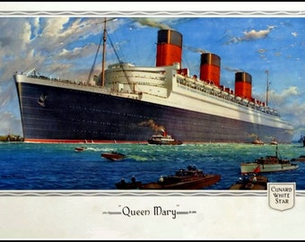 Queen Mary Cunard Line Travel Poster Print