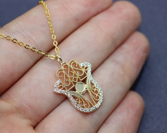 HAMSA NECKLACE, Hand Of Hamsa necklace, Women Necklace, Hamsa Necklace, Zircon necklace, Gift, Everyday Best Price, Gift For Women