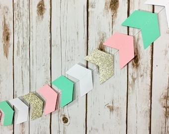 Tribal Garland, Arrow Garland, Chevron, Mint Pink Gold and White Garland, Tribal Banner, Baby Shower, Party Decor, Photo Prop