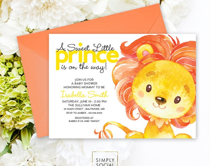 Lion Baby Shower Invitation - King of the Jungle Little Prince on the way Yellow Baby Shower Invitation Watercolor Calligraphy Printable