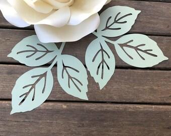 ROSE paper flower LEAF template pdf svg pattern/Paper flower leaf template on Cameo and Cricut/DIY how to make a paper flower leaf
