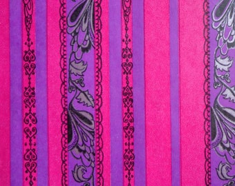 Vintage Gift Wrap 1960s All Occasion Wrapping Paper-HOT Pink & Purple Stripe--2 Sheets