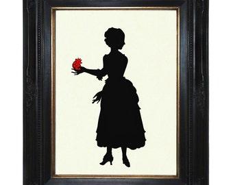 Valentine's Day Art Print Silhouette Lady stolen anatomical Heart Victorian Steampunk Paper Cut