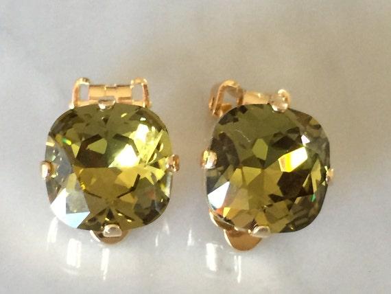 Khaki Swarovski Crystal Clip On Earrings, Yellow Gold