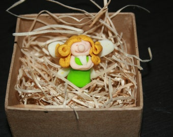 1 x Fairy In A Fairy Garden Gift Box. Craft supplies. Miniature toys. Hand Made from Polymer Clay.