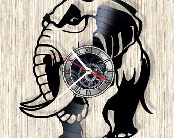 Elephant vinyl record wall clock unique home decor and wonderful gift idea