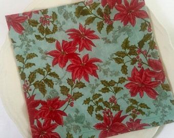 Large Cloth Christmas Dinner Napkins, Poinsettias, Red, Scarlett, Teal.  Reusable Luxury Xmas Holiday Table Decor.