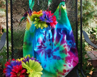 Hand dyed, tie dyed canvas shopping