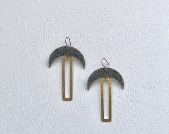 Superstition - Mixed Metal Moon and Rectangle Earrings / Mixed Metal Earrings / Large Dangle Earrings / Metal Dangle Earrings