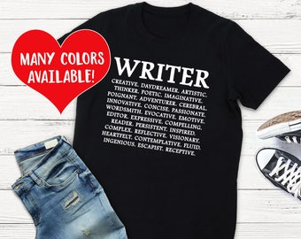 Writer Gifts, Writer Shirts, Writing Top, Writing Quote, Write Quote, Writer, Gifts for Writers, Writing Student, Writer Gift, Writer Shirt