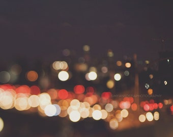 abstract wall art, bokeh photography, LA at night, downtown Los Angeles skyline, city lights, winter, blue red gold, traffic, urban, sparkle