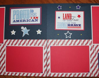 Memorial Day U.S. Military 12 x 12 -assembled 2 page, handmade scrapbook layout, Military 12 x 12 scrapbook pages