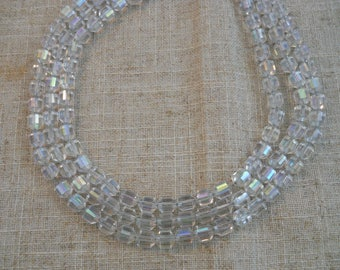 Vintage 1940s 3 strand crystal choker
