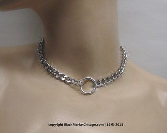 BDSM Day Collar Lockable O Ring 316L Stainless Steel Chain Necklace Choker with Mini Heart Padlock or Lobster Clasp Closure