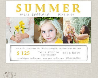 Summer Mini Session Template - Photography Marketing Board 083 - C276, INSTANT DOWNLOAD