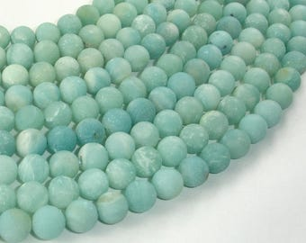 Matte Amazonite Beads, Round, 8mm (8.6mm), 15 Inch, Full strand, Approx 45 beads, Full strand, Hole 1mm (111054034)
