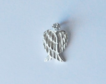 Sterling Silver, Angel Wings, Silver Wings, Cubic Zirconia, Wing Charm, Wing Pendant,13x21 mm, Fast Shipping from USA