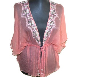 BOHO pink silk blouse Designer beads embroidery top Hand embroidery summer blouse Lotta Stensson blouse Resort Beach wear women Party top